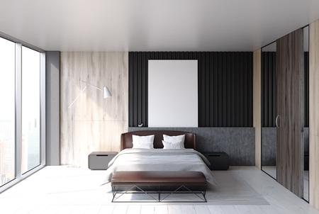 Intérieur de la chambre en mezzanine avec un lit principal, une fenêtre panoramique et une grande armoire. Une affiche verticale. Rendu 3d maquette Banque d'images - 88803330