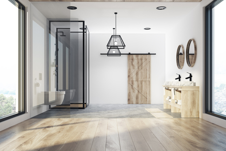 Modern Bathroom Interior With A Concrete And Wooden Floor A Stock