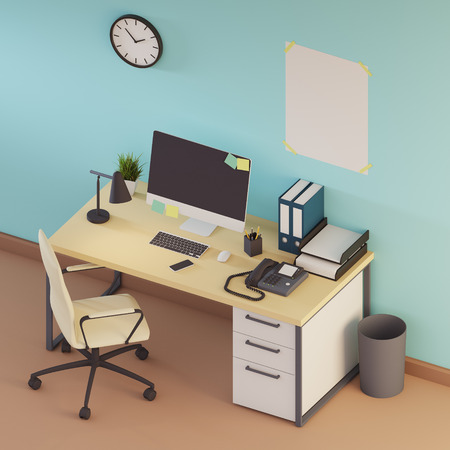 Workplace interior with light blue walls, a white computer desk, a black blank desktop screen and a vertical poster near the clock. Side view. 3d rendering mock up Stock Photo
