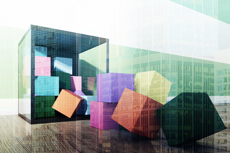 Childrens building blocks container with colorful bricks standing on the wooden floor of a green and white striped nursery. 3d rendering mock up double exposure toned image
