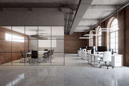 Open Space fice Corner With White And Glass Walls A Concrete