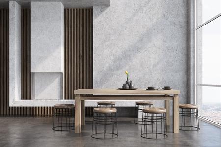 Intérieur de salle à manger moderne avec des murs en béton et en bois, une table en bois avec des chaises rondes près d'elle, une fenêtre de grenier et une cheminée. Maquette 3D Banque d'images - 88803035