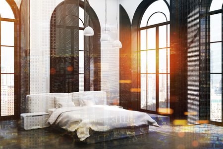 Corner of an upscale bedroom interior with tall windows, a concrete floor, white walls and a white bed in the center. 3d rendering toned image double exposure