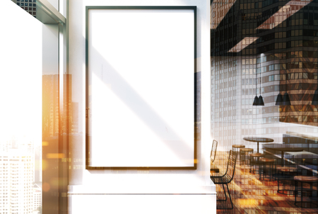 Close Up Of A Vertical Framed Poster On A Cafe Wall. Large Windows ...