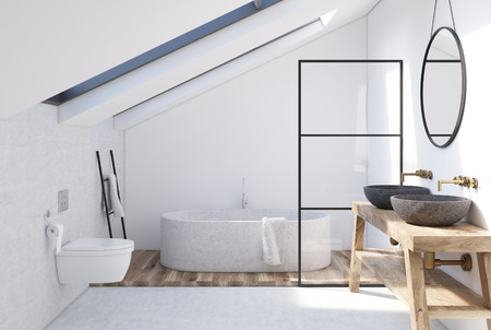 White attic bathroom interior with a wooden shelf, two sinks standing on it, a round mirror, a tub and a toilet. 3d rendering mock up