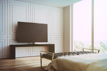 Modern living room interior with white walls, a wooden floor, a glass wardrobe and a flat screen TV set on a lowboard cabinet. Side view. 3d rendering mock up toned image