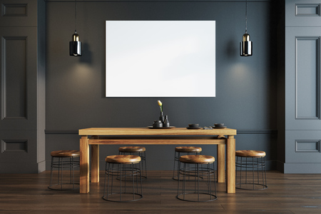 Black dining room interior with a wooden floor, a light wooden table and stools and a horizontal poster on the wall. 3d rendering mock up