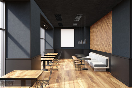 Cafe interior with a wooden floor, gray walls, a poster and wooden square tables with metal and wooden chairs. White armchairs. 3d rendering mock up