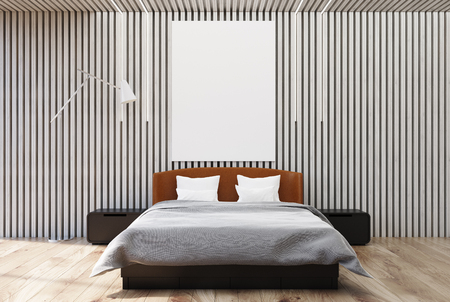 Dark wooden bedroom interior with a white wooden floor, a double bed with a poster hanging above it and two bedside tables. 3d rendering mock up