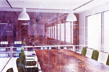 Environment friendly style office interior with glass and wooden walls and a long table with green armchairs. 3d rendering mock up toned image double exposure