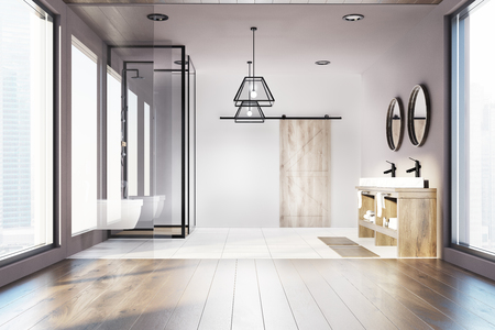 Modern Bathroom Interior With A White And Wooden Floor A Shower