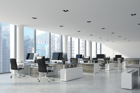 Open space office interior with white walls and ceiling, a concrete floor and panoramic windows. A row of computer desks with blank screens. Side view. 3d rendering mock up