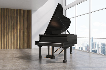 Side view of a black piano standing on a concrete floor of a room with panoramic windows and white and wooden walls. 3d rendering mock up