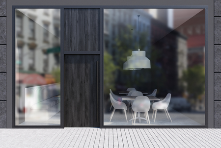 Modern cafe exterior with black walls, a dark wooden door and large windows. It is standing in an empty street with a white stone pavement. 3d rendering mock up Stock Photo