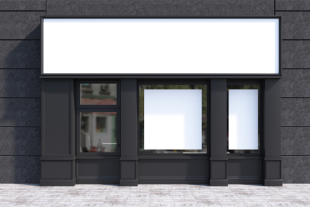 Black cafe exterior with a square poster in the window and a large blank sign above it. 3d rendering mock up