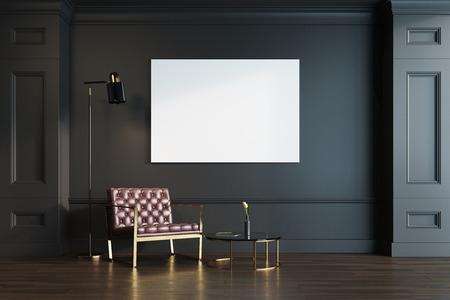 나무 바닥, 가죽 안락의 자 및 라운드 커피 테이블 블랙 거실 내부. 가로 포스터. 3 차원 렌더링 조롱