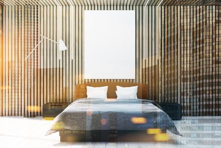 Intérieur de la chambre en bois avec un plancher en bois blanc, un lit double avec une affiche suspendue au-dessus et deux tables de chevet. Rendu 3D simulé double exposition image tonique Banque d'images - 89469198