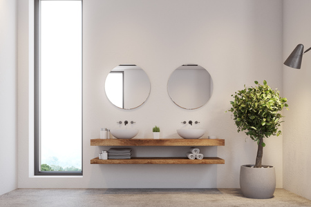 Narrow window bathroom interior with a concrete floor, white walls, a double sink and two round mirrors. A potted tree in the corner. 3d rendering mock up Фото со стока