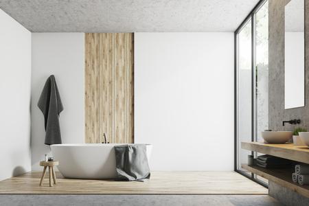 Interior moderno del baño con paredes blancas, de hormigón y madera, una ventana grande, una bañera, un lavabo y un espejo. Simulacro de representación 3D