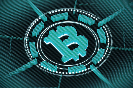 Round blue bitcoin emblem with the bitcoin sign in the center of a circle. Concept of cryptography and mining. 3d rendering Stock Photo