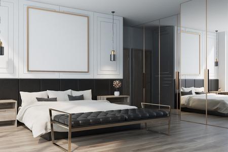 Intérieur de chambre blanc avec plancher en bois, lit double avec une affiche carrée encadrée et deux tables de chevet Vue de côté rendu 3d maquette Banque d'images - 89469697