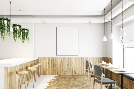 White bar interior with a white and wooden floor, a long bar stand with stools and square tables. There is a framed vertical poster on the wall. 3d rendering mock up