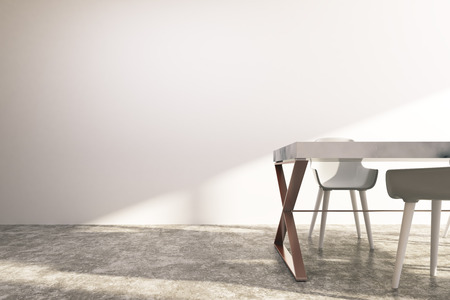 Minimalistic dining room interior with white walls, a concrete floor, a long white table and chairs standing near it. 3d rendering mock up Stock Photo
