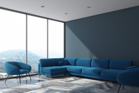 Gray living room corner with a blue sofa and two armchairs. A panoramic window with a cityscape. 3d rendering mock up