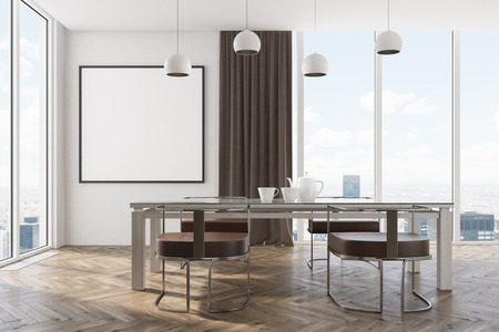 White dining room interior with panoramic windows, brown curtains, a wooden floor, a long white table and soft chairs. A square poster on the wall. 3d rendering mock up