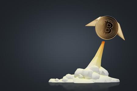Glühendes bitcoin mit den Flügeln, die wie eine Rakete gegen einen schwarzen Hintergrund fliegen. Konzept des Bergbaus. Spott der Wiedergabe 3d oben