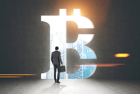 Rear view of a businessman holding a suitcase and looking at a cityscape standing in a dark room with a large bitcoin sign opening in the wall. Toned image mock up