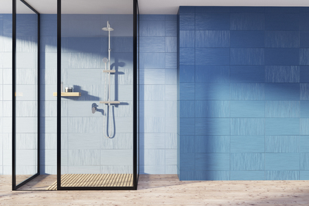 Blue bathroom interior with a wooden floor, a shower stall with glass walls and an empty wall fragment. 3d rendering mock up Stok Fotoğraf - 89787796