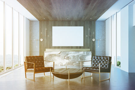 Gray and wooden office interior with a concrete floor and a marble and wooden reception counter. There is a horizontal poster on the wall. Armchairs and a coffee table. 3d rendering mock up toned image