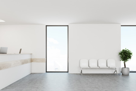 White hospital lobby with a reception desk and white chairs for patients waiting for the doctor visit. 3d rendering mock up
