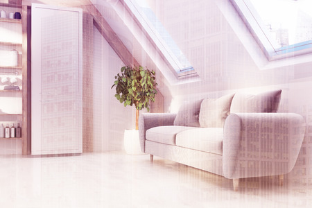 Attic living room interior with white walls, a gray sofa, a cupboard and large windows in the roof. 3d rendering mock up double exposure toned image