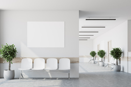 White hospital corridor with doors and white chairs for patients waiting for the doctor visit. A poster. 3d rendering mock up Archivio Fotografico