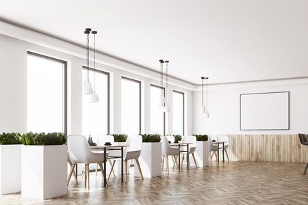 Modern cafe interior with white and wooden walls, a wooden floor, white chairs near the tables and a framed horizontal poster. Side view. 3d rendering mock up