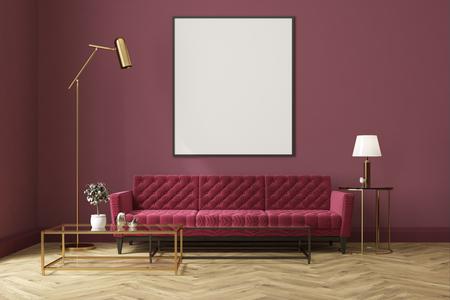 Intérieur de salon blanc avec un plancher en bois, fenêtres loft, un canapé rouge, une table basse et une affiche verticale encadrée sur un mur violet. Maquette 3D