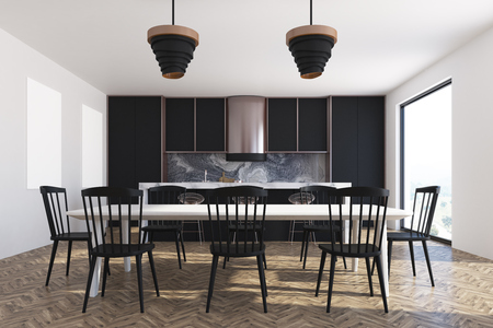 Luxury black dining room interior with a wooden floor, loft windows, a long table with black chairs and cupboards 3d rendering mock up Stock Photo
