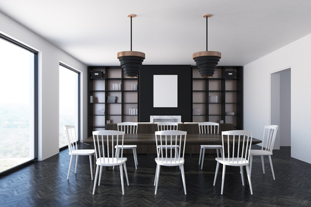 Luxury black dining room interior with a wooden floor, loft windows, a long table with white chairs and bookcases with a vertical poster. 3d rendering mock up Stock Photo