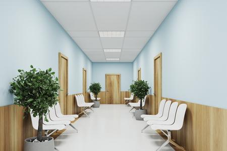 Blauwe en houten ziekenhuislobby met twee rijen deuren en witte stoelen voor patiënten die wachten op het doktersbezoek. 3D-weergave mock up