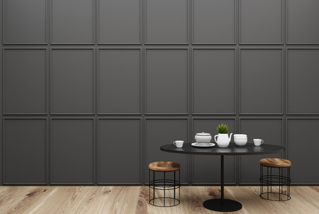 Minimalistic dining room interior with dark gray walls, a wooden floor and a round table with small chairs near it. 3d rendering mock up