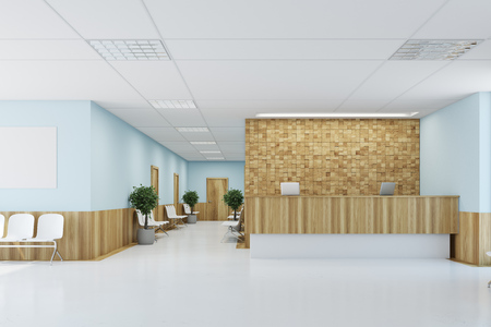 Blue and wooden lobby with a wooden reception table, a row of doors, potted trees and a concrete floor with loft windows. 3d rendering mock up Stock Photo