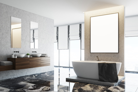 White and concrete bathroom interior with a marble floor, a large window, a double sink and a white bathtub. A framed vertical poster on the wall. Side view. 3d rendering mock up