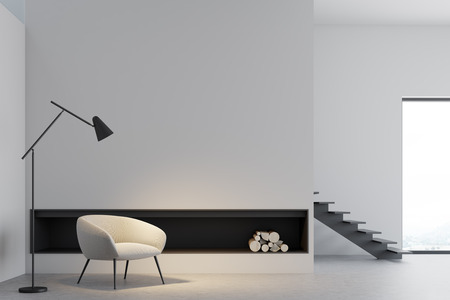 White panoramic living room interior with a fireplace, a concrete floor and a white armchair. 3d rendering mock up