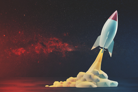 White and red rocket flying in red space diagonally. 3d rendering mock up