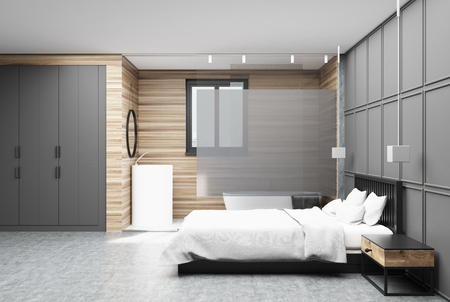Bedroom interior with gray and wooden walls, a concrete floor, a double bed with a white cover and two bedside tables. A poster. Side view. 3d rendering mock up
