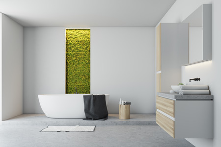 White bathroom interior with a concrete floor, a white bathtub, a sink, several closets and a narrow window with shrubbery behind it. 3d rendering mock up