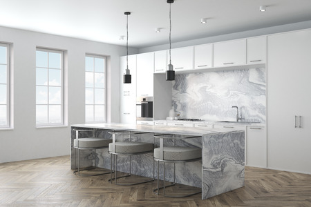 Kitchen interior with a wooden floor, marble countertops and white cupboards with built in appliances. A marble bar stand with stools in the foreground. 3d rendering mock up side view