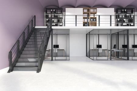 Purple and white double storey office interior with glass walls, a concrete floor, a flight of stairs and many computer tables. There are bookcases on the second floor. 3d rendering mock up Фото со стока